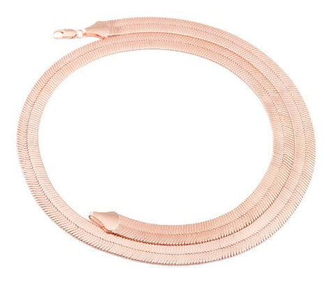 2 Pieces Of Rose Goldtone 7mm 20 Inch Herringbone Chain Necklace
