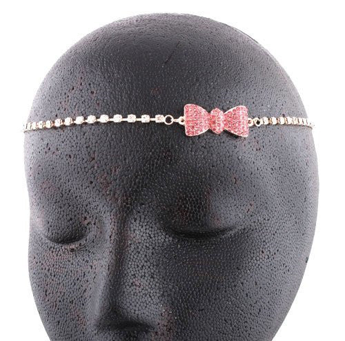 2 Pieces Of Rose Goldtone With Pink & Clear Iced Out Bow Head Chain