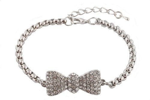 2 Pieces Of Silver Iced Out Bow Tie Shamballah Box Chain Adjustable Bracelet