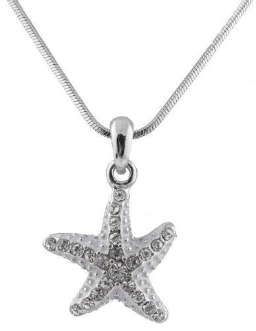 2 Pieces Of Silver With Clear Iced Out White Spotted Starfish Pendant With An 18 Inch Snake Franco Chain Necklace
