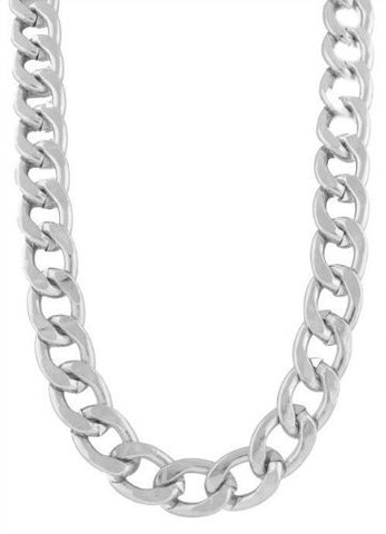 2 Pieces Of Silvertone 20 Inch Cuban Chain 12mm Necklace With Adjustable Toggle