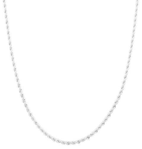 2 Pieces Of Silvertone 3mm 20 Inch Rope Chain Necklace