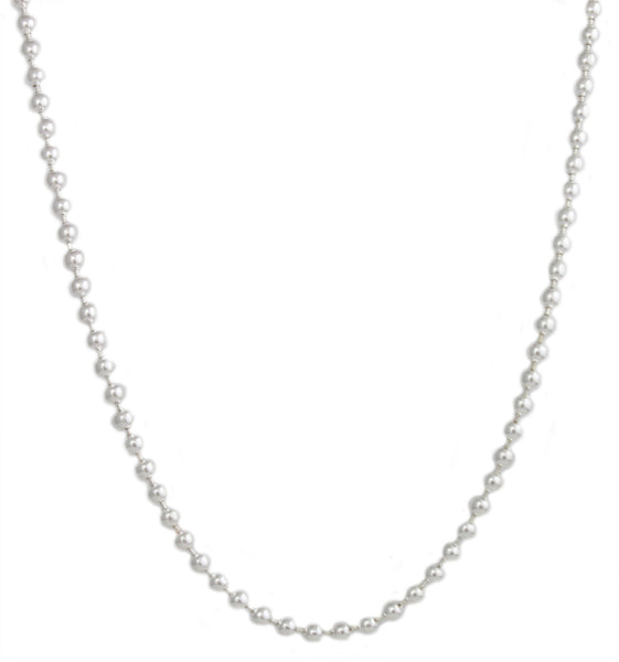 2 Pieces Of Silvertone 3mm 36 Inch Stainless Steel Ball Chain Necklace