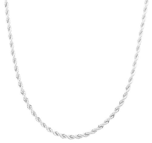 2 Pieces Of Silvertone 4mm 24 Inch Rope Chain Necklace
