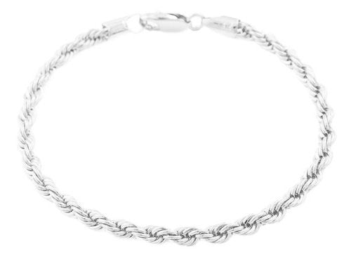 2 Pieces Of Silvertone 4mm 8 Inch Rope Bracelet