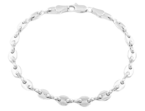 2 Pieces Of Silvertone 5mm 8 Inch Pig Nose Chain Bracelet