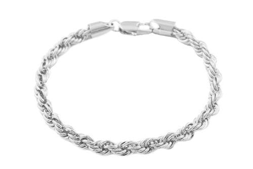 2 Pieces Of Silvertone 5mm 8 Inch Rope Bracelet