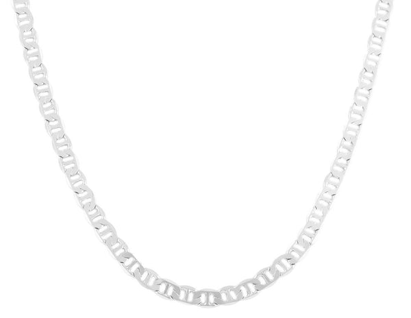 2 Pieces Of Silvertone 6mm 20 Inch Flat Mariner Chain Necklace