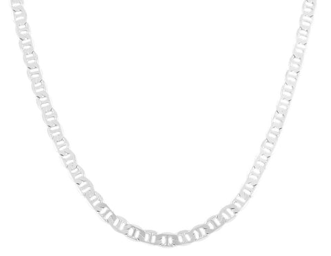 2 Pieces Of Silvertone 6mm 24 Inch Flat Mariner Chain Necklace