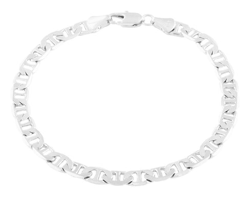 2 Pieces Of Silvertone 6mm 8 Inch Flat Mariner Chain Bracelet