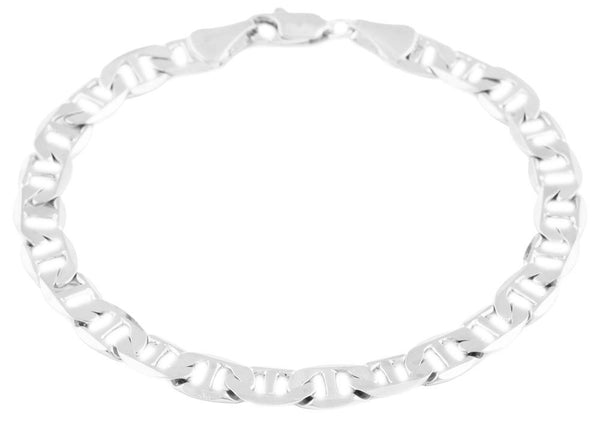 2 Pieces Of Silvertone 7mm 8 Inch Flat Mariner Chain Bracelet