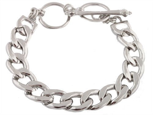 2 Pieces Of Silvertone 8.5 Inch Cuban Link 14mm Bracelet With Adjustable Toggle