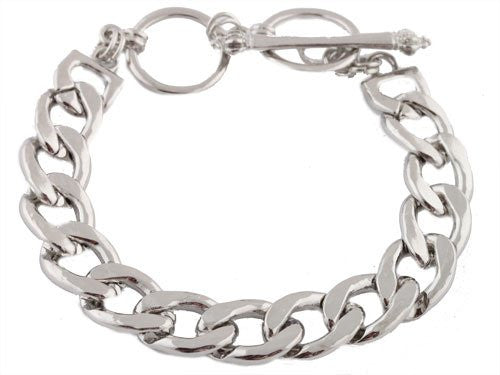2 Pieces Of Silvertone 8.5 Inch Link Chain 12mm Bracelet With Adjustable Toggle