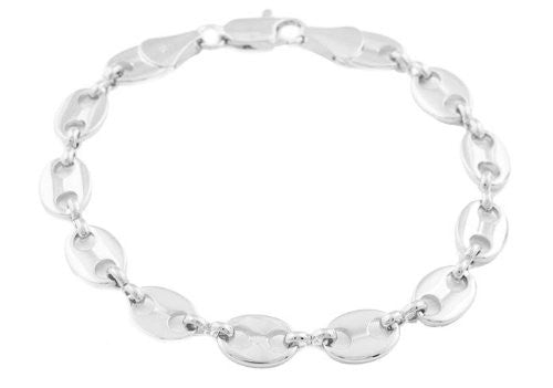2 Pieces Of Silvertone 8mm 8 Inch Pig Nose Chain Bracelet