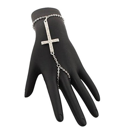 2 Pieces Of Silvertone Iced Out Cross Adjustable Slave Hand Chain Bracelet One Size Fits All