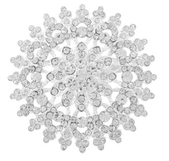 2 Pieces Of Silvertone Iced Out Flower Snowflake Brooch And Pin Pendant