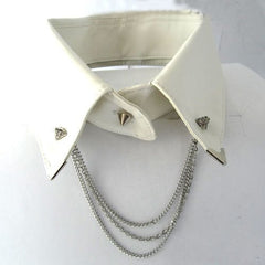 2 Pieces Of Silvertone Iced Out Pyramid Collar Brooch