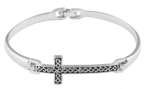 2 Pieces Of Silvertone Infinity Pattern Cross Charm 2.5 Inch Bangle Bracelet