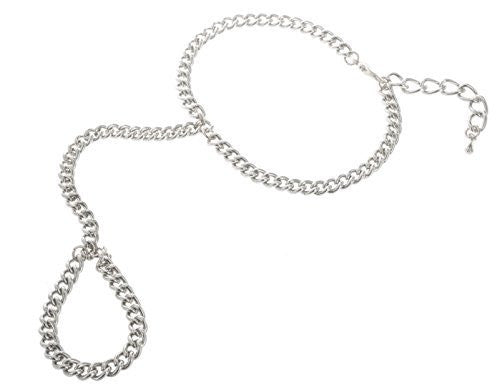 2 Pieces Of Silvertone Plain Adjustable Finger Ring And Slave Hand Chain Bracelet One Size Fits All