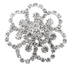 2 Pieces Of Silvertone With Clear Iced Out Symmetrical Flower Style Brooch & Pin Pendant