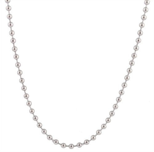2 Pieces Of Stainless Steel Silvertone 4mm 24 Inch Ball Chain Necklace