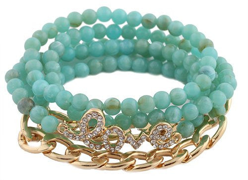 2 Pieces Of Turquoise With Goldtone 5 Piece Bundle Of Iced Out Love And Goldtone Link Chain Beaded Stretch Bracelet