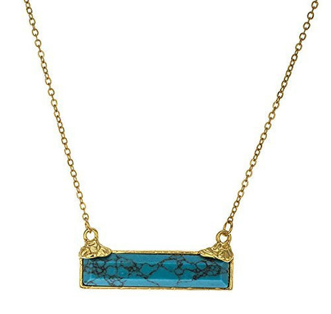 20 Inch Link Necklace With Turquoise Bar