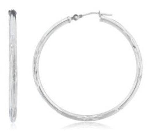 14k White Gold 2mm Frosted D-cut Click Hoop Earrings - Available in All Sizes