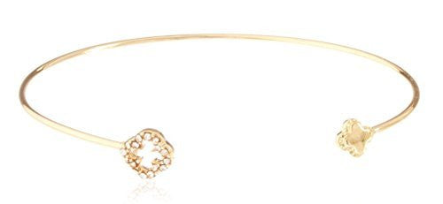 Delicate Cuff Bangle with Clover Charms - Available in Goldtone and Silvertone