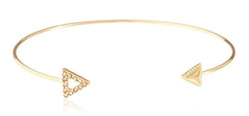 Fancy Arrow Delicate Cuff Bangle with Stones - Available in Goldtone and Silvertone