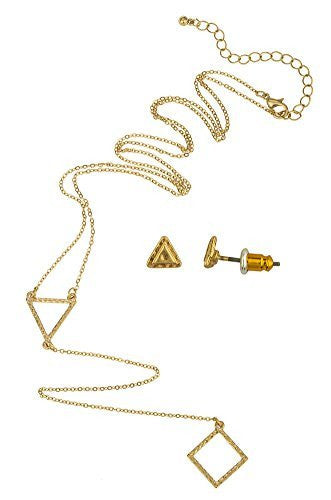 24 Inch Adjustable Link Necklace With Triangle Pendant Plus 7 Inch Drop And Matching Triangle Stud Earrings Jewelry Set