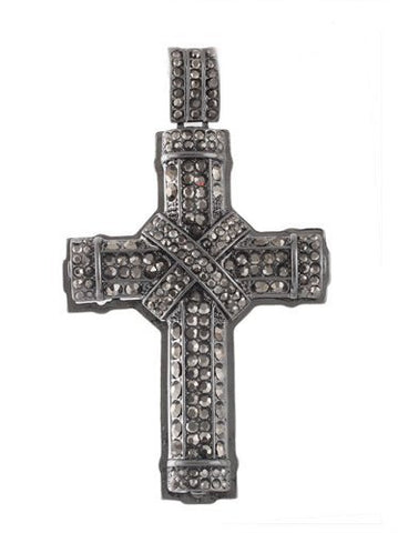 Hematite Iced Out 3D Wrapped Cross Pendant