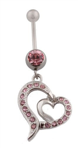 ink Iced Out Disconnected Double Heart with Pink Rhinestones Belly Ring