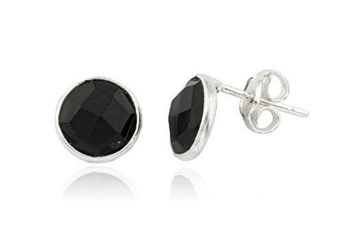 Sterling Silver Simulated Onyx Round Stone Earrings