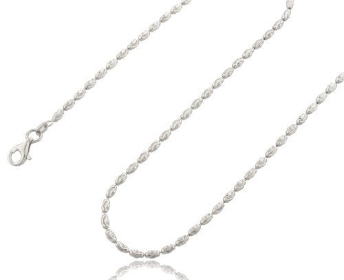 2mm Rhodium Plated Sterling Silver Rice Moon Cut Chain