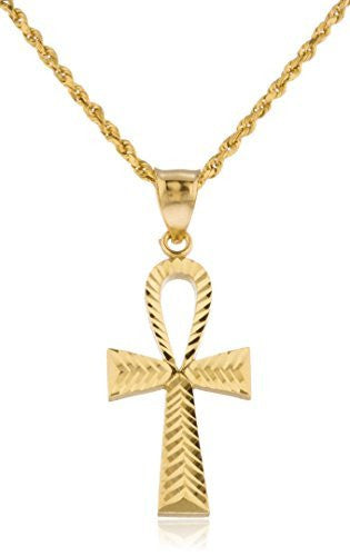 10k Gold D-cut Ankh Cross Pendant with a 10k 2mm Rope Chain