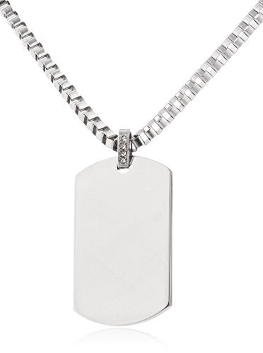 Stainless Steel Silvertone Dog Tag Pendant...