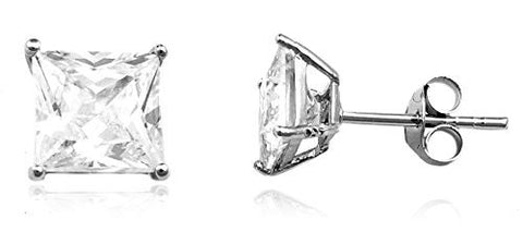 Sterling Silver Stud Earrings with CZ Square Basket Setting (rhodium-plated-Silver Stud Earrings, 6 Millimeters)