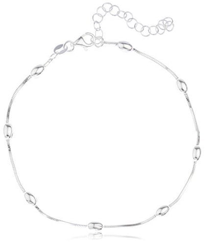 Sterling Silver Anklet 9 Inch Adjustable Snake Chain with Oval Beaded Charms