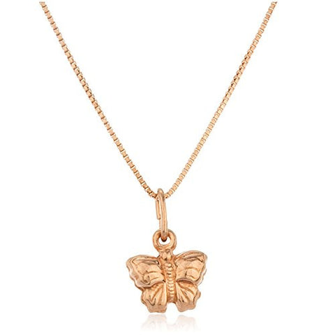 925 Sterling Silver Rose Gold Butterfly Pendant with an 18 Inch Box Necklace