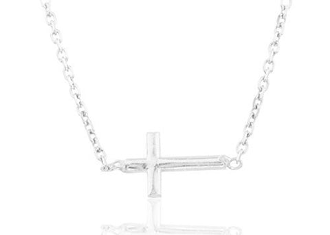 925 Sterling Silver Cross Pendant with a 17 Inch Link Necklace