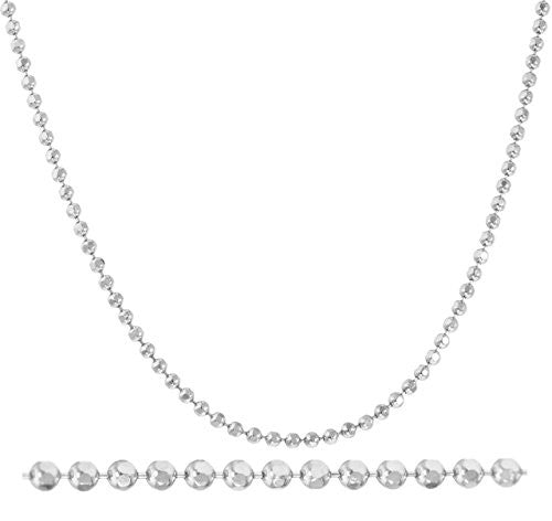 14K White Gold 2mm 24 Inch Moon Cut Necklace