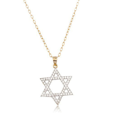 14K Yellow Gold Jewish Star Pendant with Cz Stones Anchor Necklace 18Inch