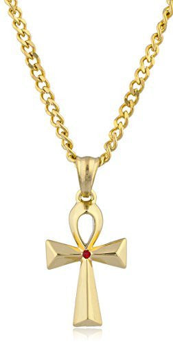 Stainless Steel Goldtone Small Ankh Cross Pendant with 24 Inch Cuban Chain