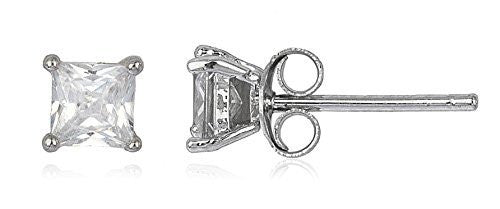 Sterling Silver Stud Earrings with CZ Square Basket Setting (rhodium-plated-Silver Stud Earrings, 5 Millimeters)
