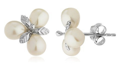 Sterling Silver Stud Earrings Simulated Pearl Cluster with Leaves