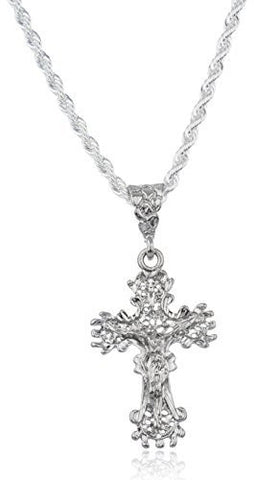 Silver Ancient Design Medium Jesus Piece Pendant with a Brass 4mm Rope Chain Necklace