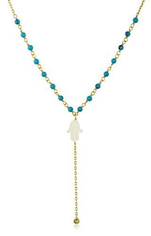 Real 925 Sterling Silver Goldtone White Created Opal Hamsa with Dangling Cz Stone and a 18 Inch Beaded Link Necklace