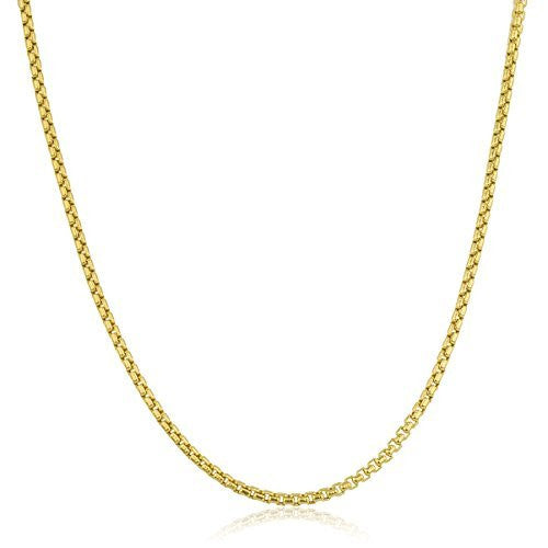 14K Yellow Gold 1.8mm Round Box Chain Necklace 18-26inch