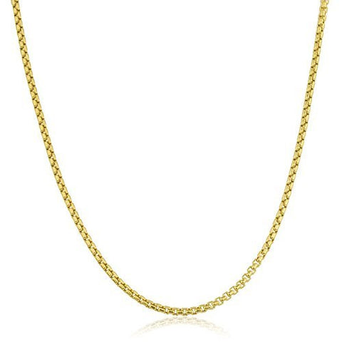 14K Yellow Gold 2.4mm Round Box Chain Necklace 22-24inch